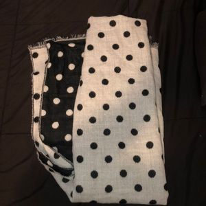 double sized black and white polka dot scarf